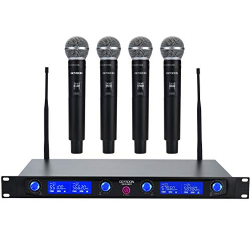 GEARDON Wireless Microphone System 4 Handheld Professional Fixed Frequency Channel Cordless Mics Set UHF Microphones With Rechargeable Receiver for Karaoke,Parties,Church,Speaker