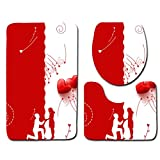 Bathroom Rugs MISYAA 3PC Valentines Heart Series Bath Rugs Kitchen Bathroom Rugs Modern New Home Decoration Ideas(D)