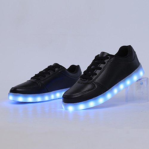 CIOR LED Leuchten Schuhe 11 Farben Blinkt Wiederaufladbare Sport Tanzen Turnschuhe Für Herren Frauen Jungen Mädchen D.schwarz