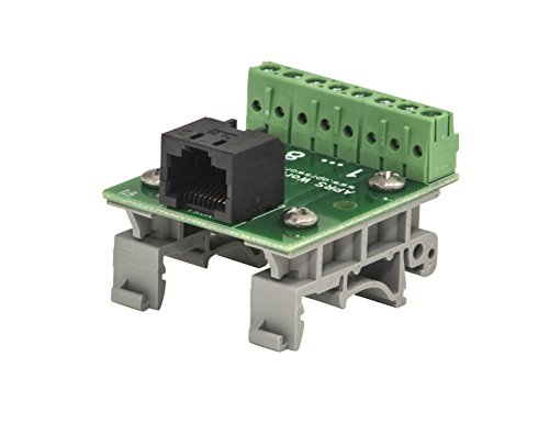 RJ-45 / 8P8C to Screw Terminal Breakout Board, with DIN Rail Clips