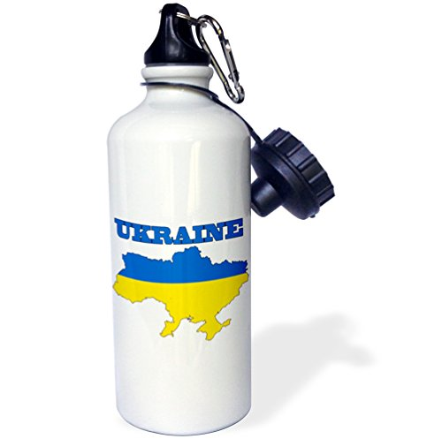3dRose wb_63214_1 The Flag of The Ukraine in The Outline Map of The Country and Name, Ukraine Sports Water Bottle, 21 oz, White