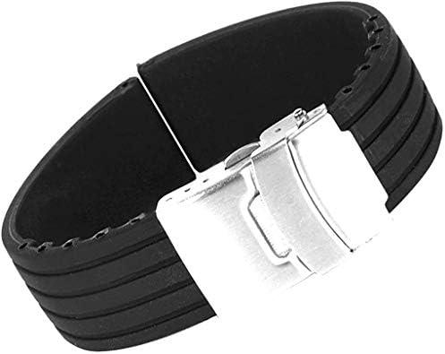 Pichidr-JP 時計バンド 交換ベルトシリコーンゴム 腕時計ストラップ 防水 24mm (ブラック)