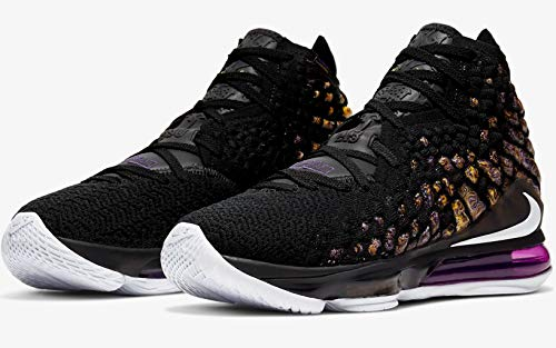 Nike Mens Lebron 17 Basketball Shoes (12, Black/White/Eggplant/Amarillo)