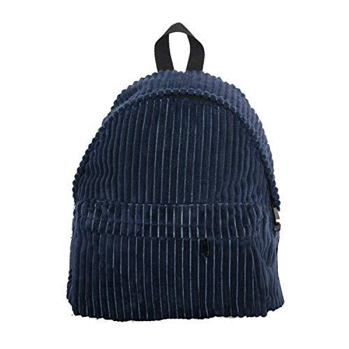 Cute Small Corduroy Vegan Leather Casual Daypack- Velvet Design Women's Travel Backpack School Bag (Navy)