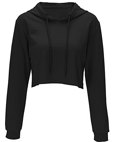(Moxeay Hoodie Sport Crop Top Sweatshirt Jumper Pullover Tops(S, Black))