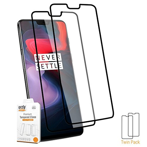 Overlay Transparency (Orzly OnePlus 6 Screen Protectors, TWIN PACK of Pro-Fit (Full Coverage) Tempered Glass Screen Protector for Oneplus6 (Case Compatible))