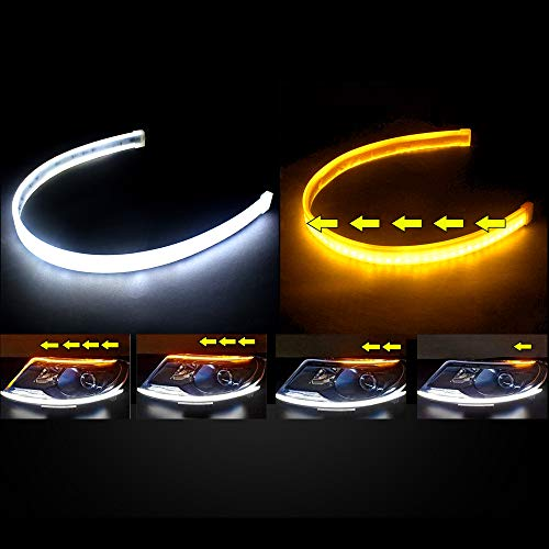 2PC 24 Inch Dual Color LED Headlight Strip Tube, Waterproof Flexible Adhesive Daytime Running Lights DRL Switchback Glow Light Strip Headlight Decorative Lamp for Car (White/Sequence Amber) ()