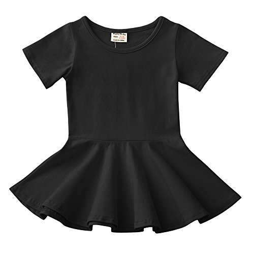 (Infant Toddler Baby Girls Dress Cozy Ruffles Long Sleeves Cotton (2-3Year(3T), Black 1))