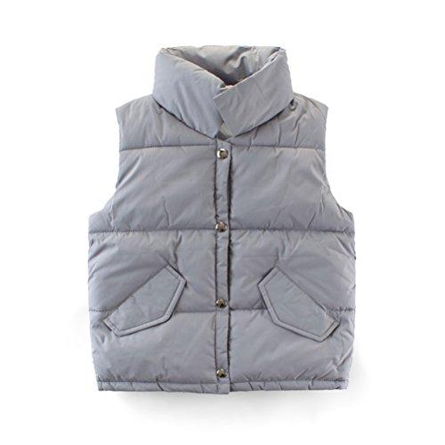 Lightweight Down Vest Puffer Jacket High Neck Waistcoat Grey 5-6 Years (Neck Puffer Jacket)