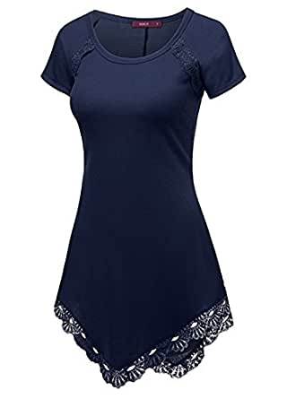 Jinglive Mujer Largas Camisa Cuello Redondo Manga Corta Camisetas ...