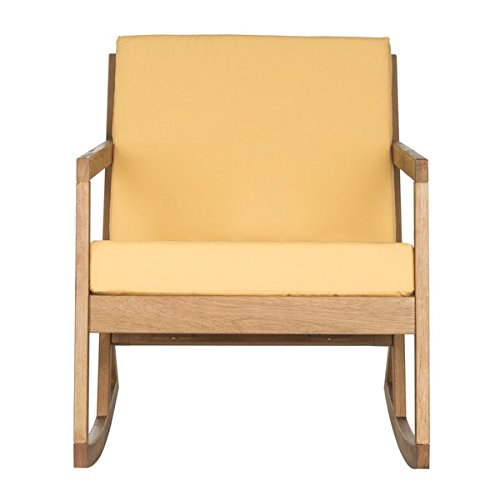 Contemporary, Elegant, And Eco-friendly Eucalyptus Teak Brown/Yellow Rocking Chair For Indoor And Outdoor Setting