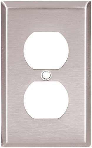 Eaton 93101 Standard Size Stainless Steel 1-Gang Duplex Receptacle Wallplate, Satin Brush Finish by Eaton