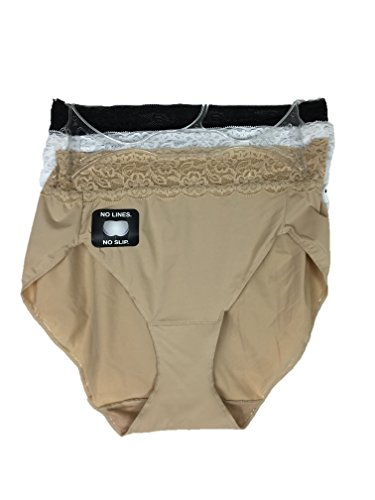 Bali No Lines No Slip Hipster with Lace 3 Pack Panty V406 (Black, White, and Nude)