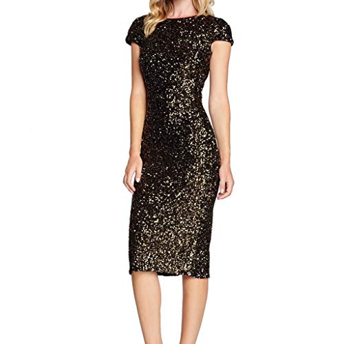 Toimothcn Women's Sparkle Sequin Cap Sleeve Flapper Party Club Dress Bodycon Prom Gown Knee ()