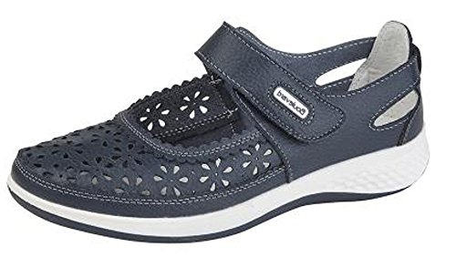 Boulevard Womens Leather Wide EEE Fit Velcro Casual Shoes Size 4-9 Navy Blue FepRf
