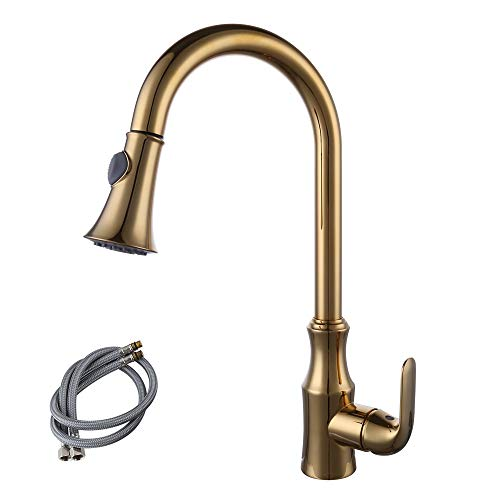 (KES Brass Pull Down Kitchen Faucet Modern Single Large Tall Commercial Pullout Bar Sink Faucet with Swivel High Arc Gooseneck Pulldown Sprayer Head Polished Gold Finish, L6936-4)