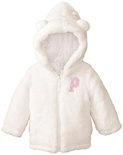 us polo association baby Girls' baby faux fur shell jacket with hoodie, winter white, 18 months