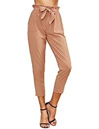 Women's Elastic Belted High Waist Casual Loose Long Pants...
