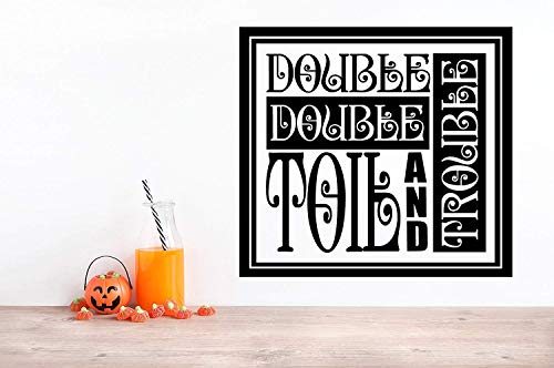 24x20 Double Double Toil and Trouble Halloween Song Vintage Ornate Framed Wall Decal Sticker Party Decoration Sign Fall Art Witch -