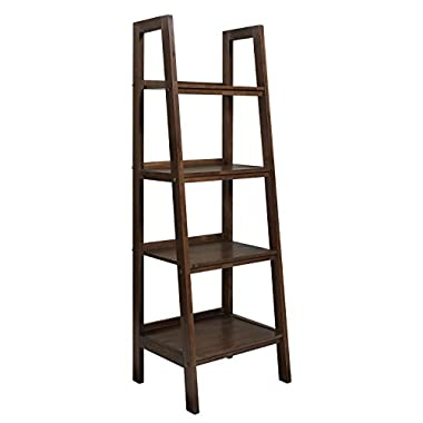 Simpli Home Sawhorse Ladder Shelf, Medium Saddle Brown
