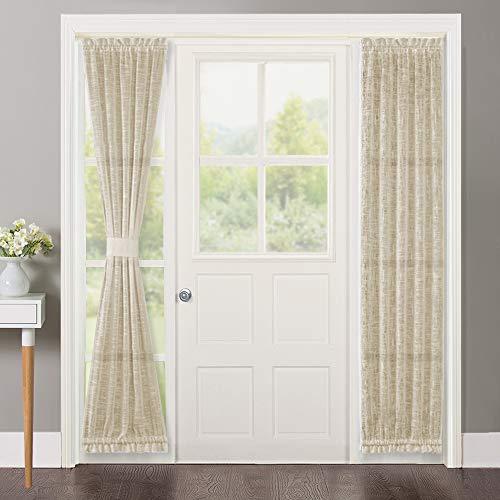 NICETOWN Sidelight Door Curtain for Porch - Linen Textured Door Side Window Panel, French Door Curtain with a Tieback, Sheer Curtain for French Doors (Beige, 30 inches x 72 inches, 1 Panel) (Doors Window Panels For French)