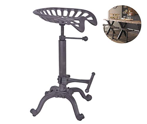 Articial Rustic Industrial Bar Stool - Cast Iron Tractor Stool Adjustable Height Swivel Breakfast Bar Stool