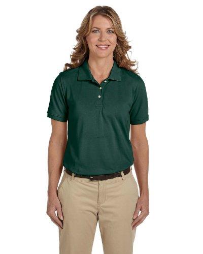 Harriton Ladies Easy Blend Cotton Pique Polo Shirt, HUNTER, Medium