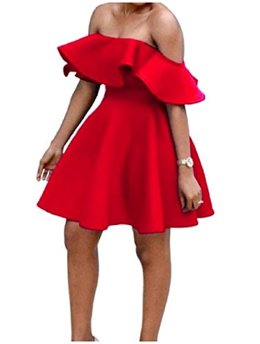 Sexy Off Summer Red Women Shoulder Evening Ruffled Dress Waist Coolred High 6ZYRnxZI