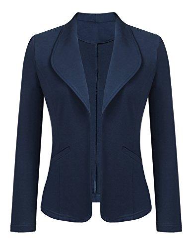 - Dealwell Womens Casual Work Office Blazer Open Front Long Sleeve Cardigan Jacket Navy Blue XXL