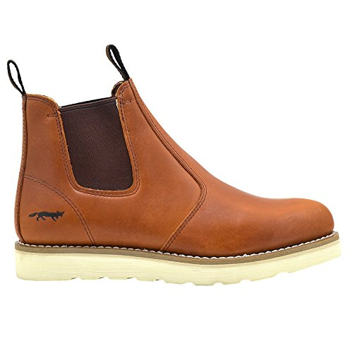 Golden Fox Work Boots 6 Mens Western Romeo Wedge Comfortable Pull-On Boots For Work, Construction, Farming, and Casual Brun