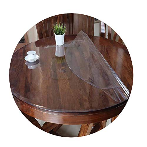 COOCOl PVC Waterproof Round Tablecloth Table Cover Transparent Kitchen Pattern Oil Glass Soft Cloth 1.0Mm Mat,Frosted Pattern,35Cm -