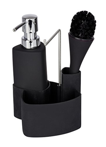 Nail Brush Dispenser - WENKO 3620127100 Wash up set Empire black - washing-up liquid dispenser, washing-up brush, dish cloth holder, capacity 0.07 gal, Soft-Touch ceramic, 4.3 x 7.5 x 4.9 inch, Black