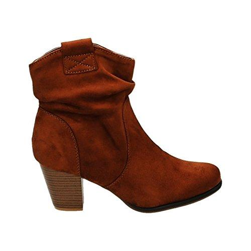 Damen Stiefeletten Cowboy Western Stiefel Boots Schlupfstiefel Blockabsatz Schuhe 65 Camel