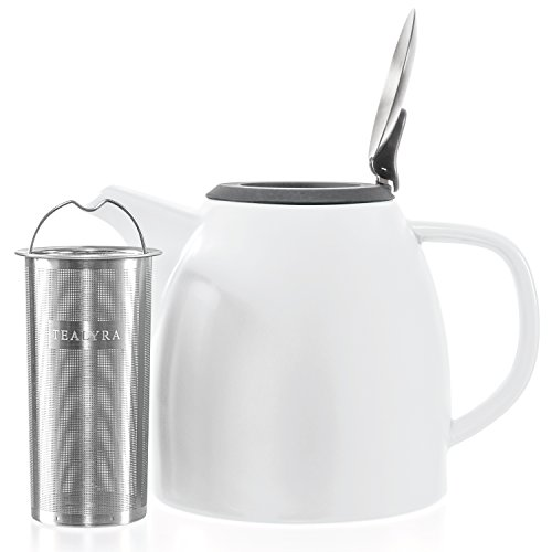 Tealyra - Drago Ceramic Teapot White - 37oz (4-6 cups) - Large Stylish Teapot with Stainless Steel Lid Extra-Fine Infuser To Brew Loose Leaf Tea - Leed-Free - - White Teapot Lid