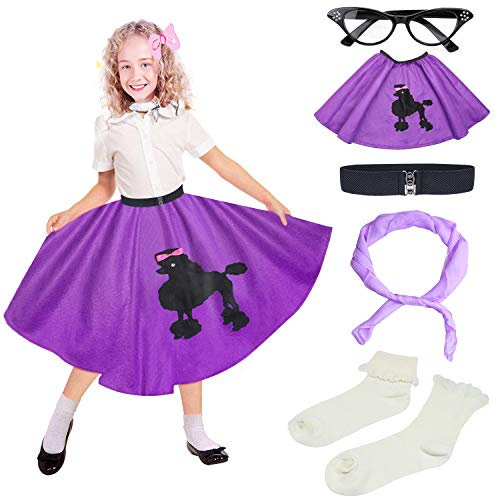 Beelittle 50s Girls Costume Accessories Set - Vintage Felt Poodle Skirt, Chiffon Scarf, Cat Eye Glasses, Bobby Socks (Purple)