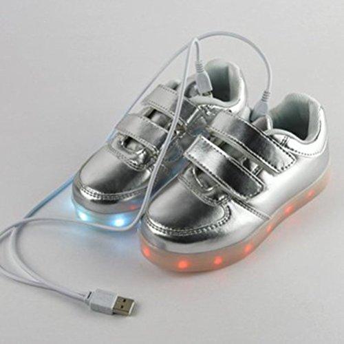 [Present:kleines Handtuch]JUNGLEST® Unisex USB Charing LED leuchten Kinder Luminous S Silber