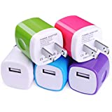 USB Charger, Charging Block CIQILY 5-Pack 1A/5V USB Power Home Travel Adapter Wall Charger Cube Brick Box Base Head Compatible for iPhone X 8 7 6 Plus 5S, iPad, Samsung, LG, Moto,Tablet, Android Phone