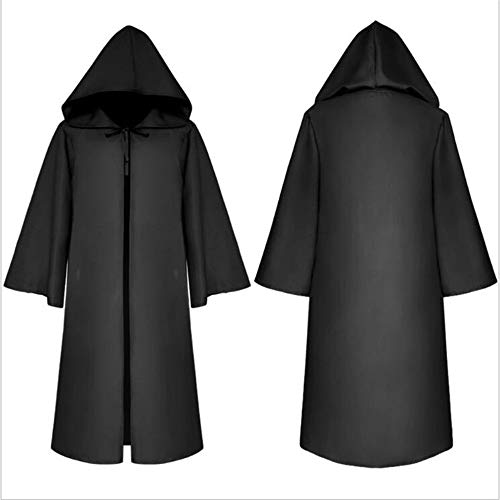 YCRD Halloween Adult Costume, Polyester Death Cloak, Role Playing Set, for Halloween Parties, Dances, Orgy,Black,M -