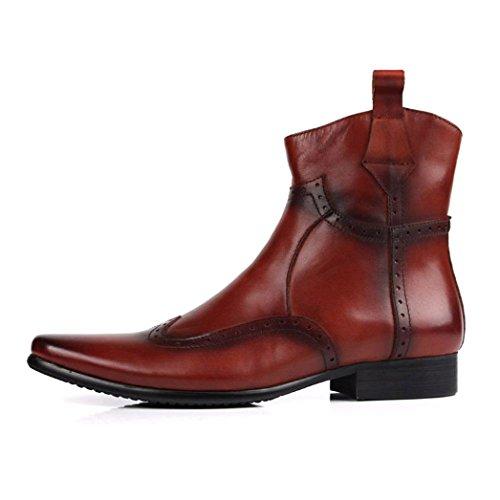 Stivali alla Moda, Scarpe Alte, Stivali Martin, Stivaletti, Comfort, Cerniera, Tacco Grosso, Traspirante Brown