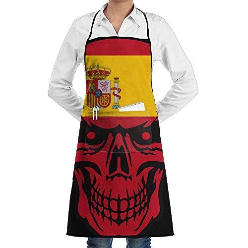 Qotuyou&me Apron Kitchen Cooking/Restaurant, Adjustable Bib Apron Pockets Spain Flag Skull Pattern by Qotuyou&me