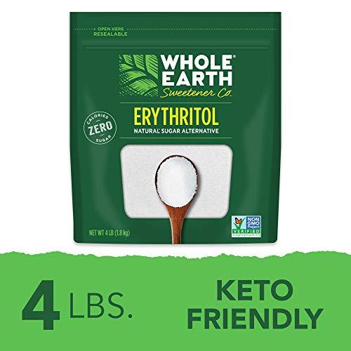 Whole Earth Sweetener 100% Erythritol Sweetener, 4 Pound Pouch, Natural Sugar Alternative, Baking Sugar Substitute, Zero Calorie Sweetener, Gluten Free, Non-GMO, Keto Sweetener