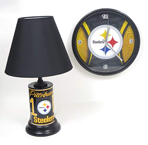 Pittsburgh Steelers Home Decor Table lamp and Large Wall Clock. Great Room Accents for Your TV Family - Pittsburgh Lamp Table