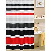 Cortina de ducha de tela, multicolor rayas negro /rojo