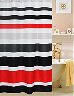 Fabric Shower Curtain,multi Color Striped Black /Red