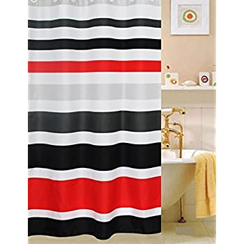 fabric shower striped black red