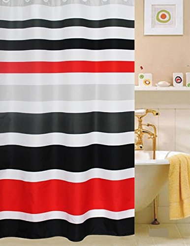 Fabric Shower Curtain,multi-color Striped Black /Red by spring Home
