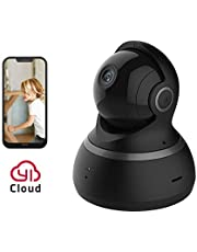 YI Caméra de Surveillance Dôme 1080p Caméra IP Caméra Sécurité Full HD Wifi Audio Bidirectionnel Détection de Mouvement Vision Nocturne Service Cloud Disponible Noire