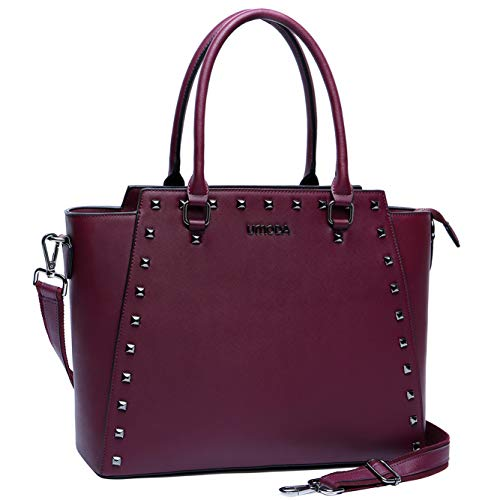 Laptop Tote Bag,15.6 Inch Laptop Briefcase for Women,Water Resistant PU Leather Computer Bags for Women,Burgundy (Leather Computer Purse)