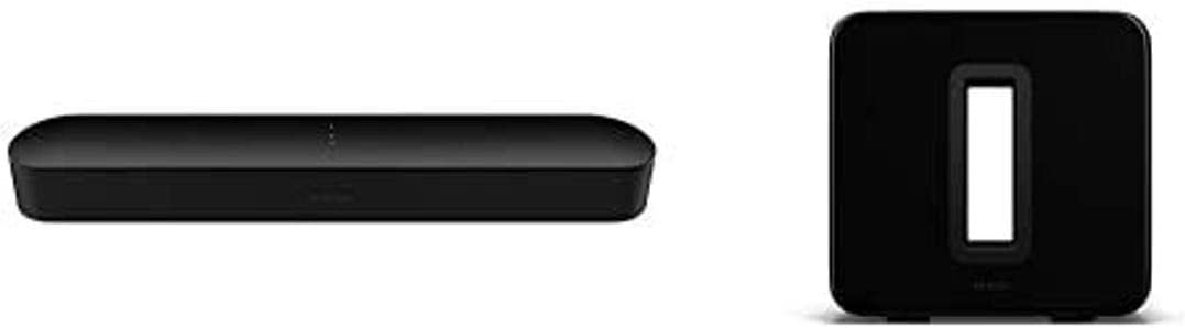 Sonos Beam - Smart TV Sound Bar with Amazon Alexa Built-in - Black and Sonos Sub (Gen 3)