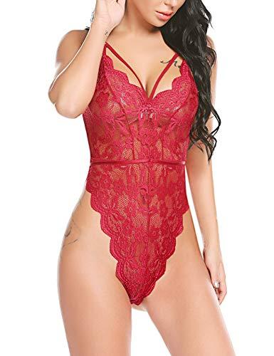 (Avidlove Women Strappy Teddy Lace One Piece Babydoll Bandage Bodysuit Lingerie (Wine Red,L))